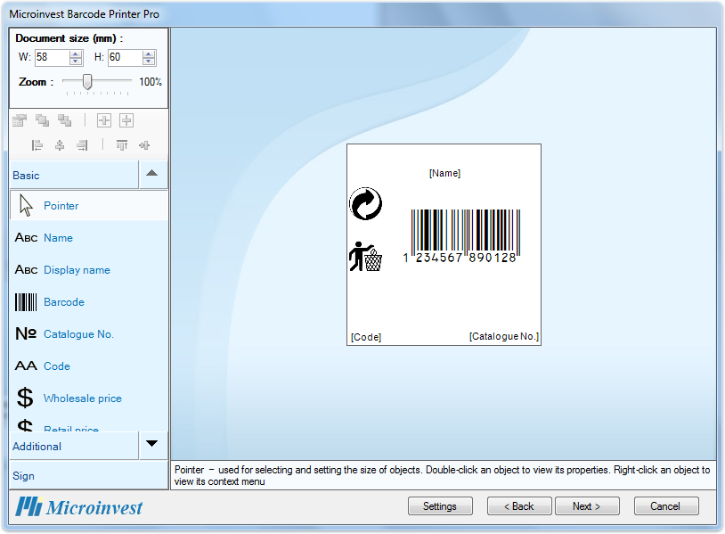Barcode Printer Pro Document Size